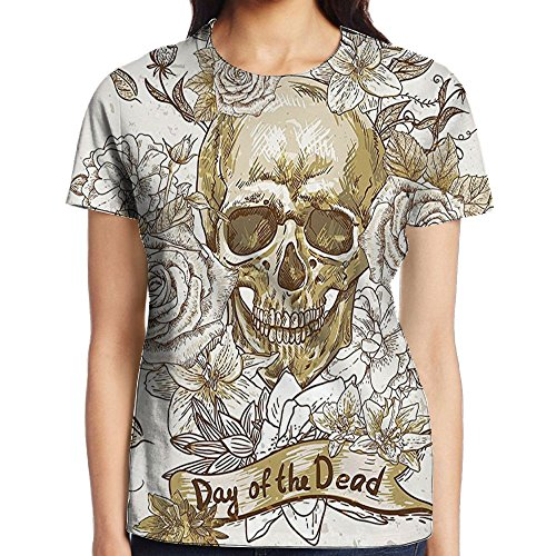WuLion Skull with Roses Day of The Dead Sign Horror Mexican Traditional Women's 3D Print T Shirt XL -
