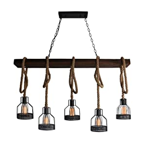 Unitary Brand Rustic Black Metal and Wood Body Cage Shades Dining Room Multi Pendant Lighting with 5 E26 Bulb Sockets 200W Painted Finish
