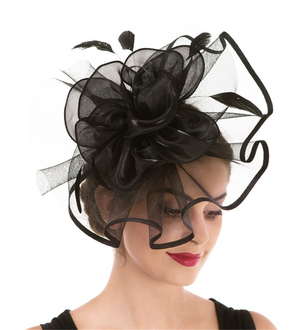 Fascinator Haojing Feather Mesh Flower on a Headband and a Clip Royal Tea Party Derby Headwear for Girls and Women(Hj2-Black)