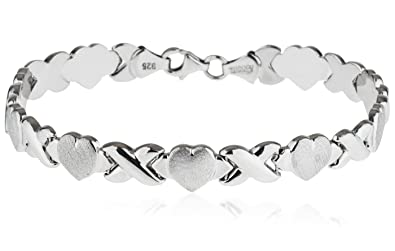 7683a68c3d34d SilverLuxe Rhodium Plated 925 Sterling Silver Hugs and Kisses XOXO Bracelet