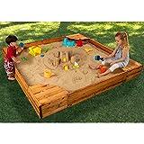 MD Group Sandbox Sanmu Wood Sturdy Construction Outdoor Backyard Childrens Playground