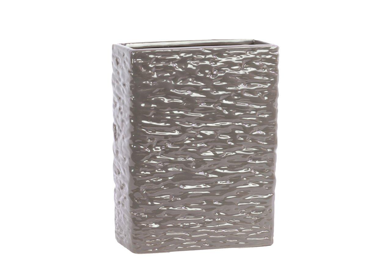 Urban Trends Ceramic Rectangular Vase SM Textured Gloss Finish Dark Taupe