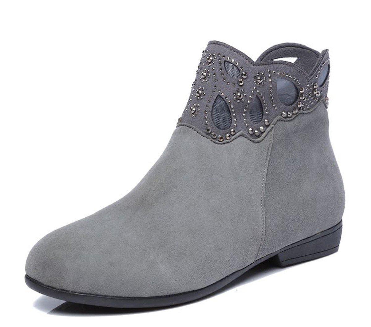 GTVERNH Damenschuhe Frühjahr und Herbst Stiefel Boden Boden Boden Haut Kurze Stiefel Flachen Boden Martin Schuhe Stiefel. f59b95