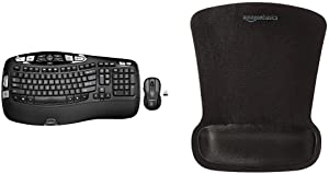 Logitech MK550 Wireless Wave Keyboard and Mouse Combo — Includes Keyboard and Mouse, Long Battery Life, Ergonomic Wave Design & AmazonBasics Gel Computer Mouse Pad with Wrist Support Rest