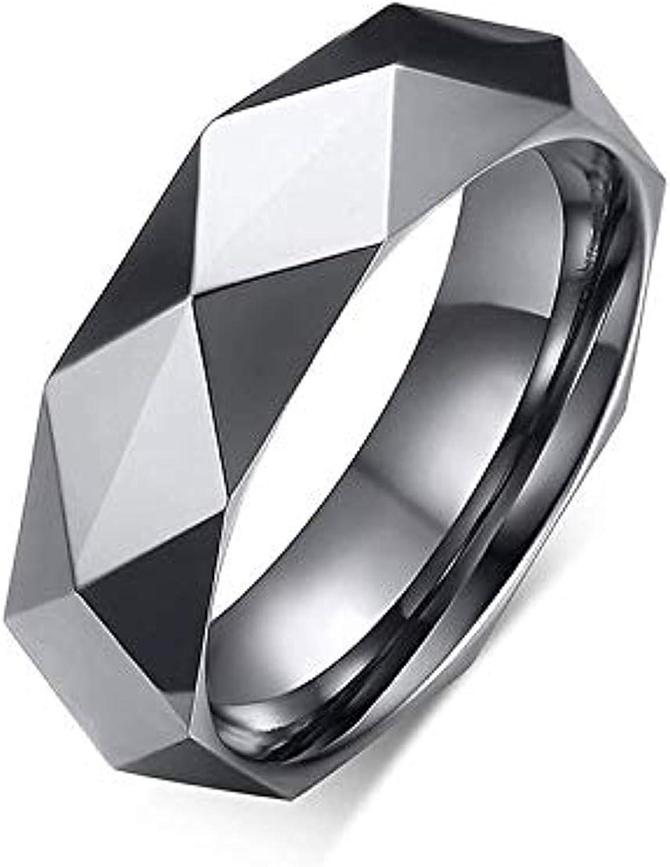 6MM Faceted Diamond Cut Tungsten Carbide Ring Gold Milo Bruno