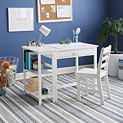 Lipper Writing Workstation Desk and Chair for Kids (White)