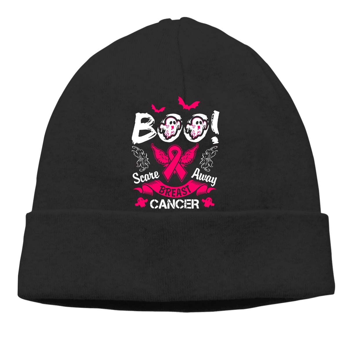 GDSG5/&4 Scare Away Breast Cancer Funny Halloween Women and Men Quick Dry Cycling Beanie Hat