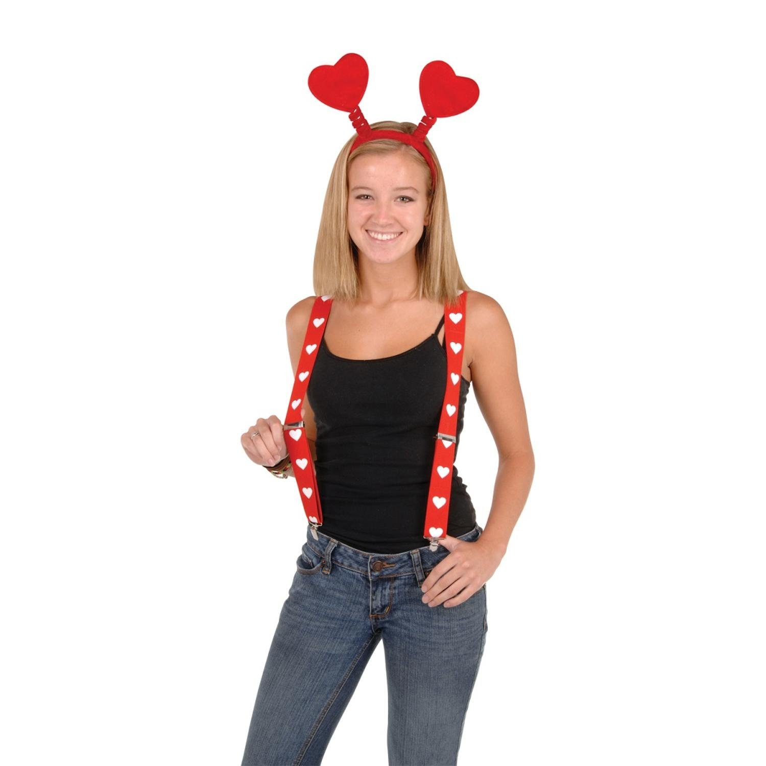Club Pack of 12 Red and White Valentine's Day Adjustable Suspender Costume Accessories by Party Central