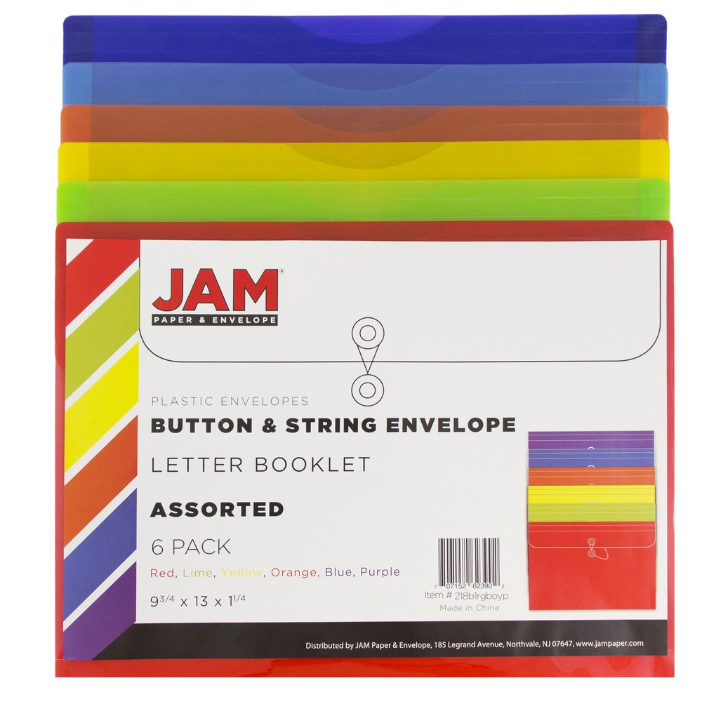 JAM Paper Plastic Envelope with Button and String Tie Closure - Letter Booklet - 9 3/4'' x 13'' - Assorted - 6/pack by JAM Paper (Image #2)