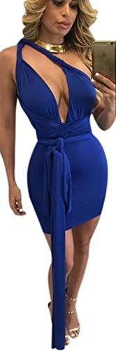Mojessy Women's Sexy Multi Wear Bodycon Bandage Tank Midi Party Dress Clubwear