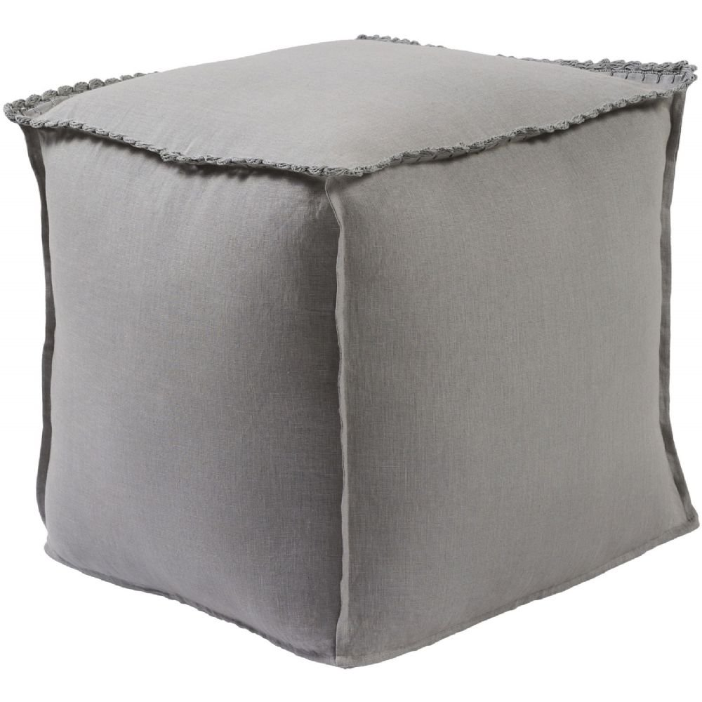 Surya Kids Square pouf/ottoman 18''x18''x18'' in Gray Color From Evelyn Collection
