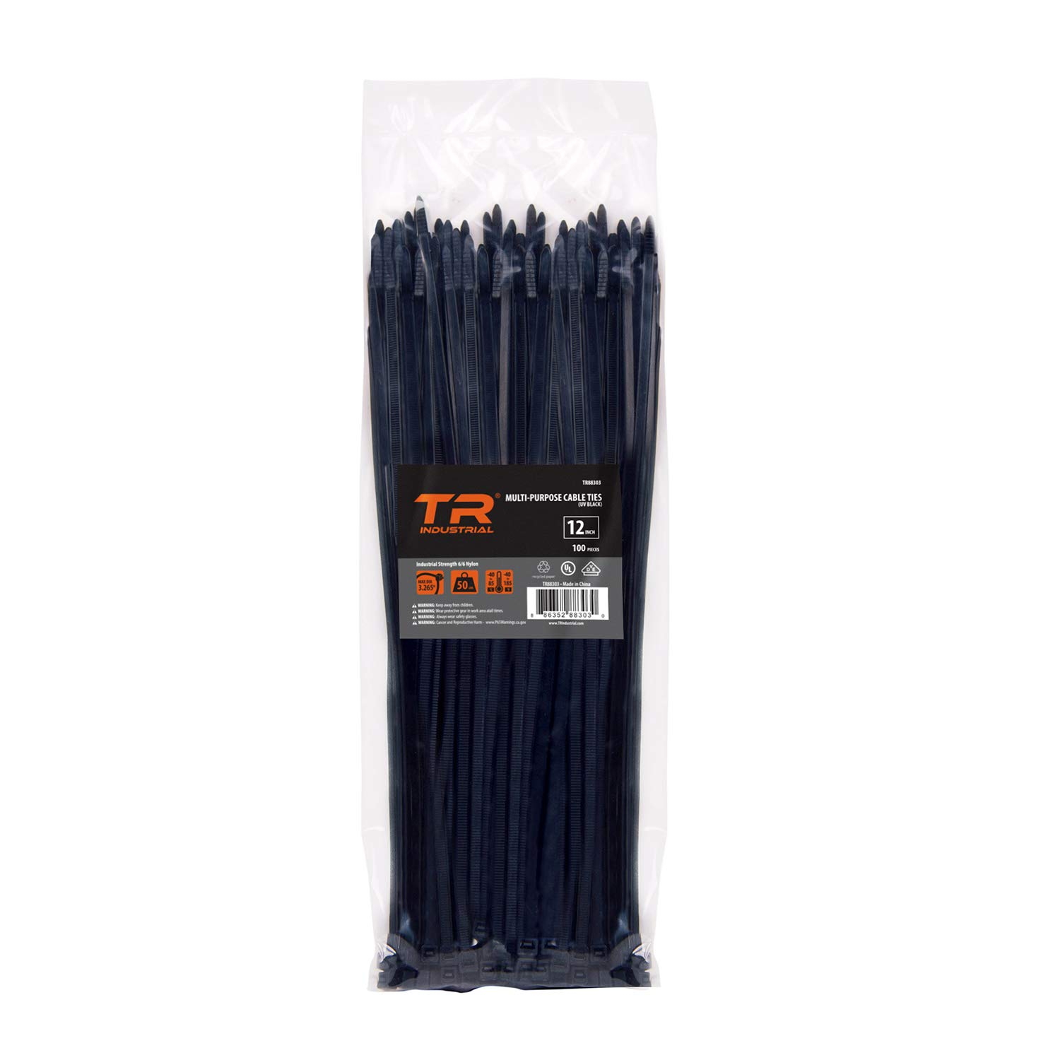 TR Industrial TR88302 Multi-Purpose Cable Tie (100 Piece), 8', Black 8