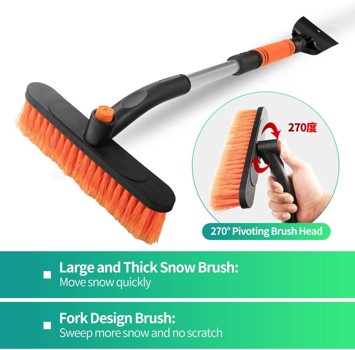 WPCUS Ice Scraper with Snow Brush for Car Windshield Scraper with 270/°Rotate Head Ergonomic Foam Handle Telescopic 3 in 1 Snow Mover for Car Auto SUV Truck