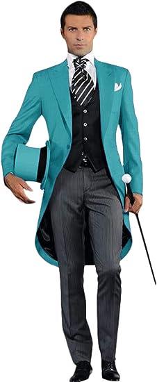 YZHEN メンズ3ピーステールコートタキシードワンボタンウェディングウエディングスーツ
