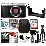 Fujifilm X-E3 Mirrorless Digital Camera (Body, Silver) w/BLC Leather Case, Memory Card & Editing Software Bundle