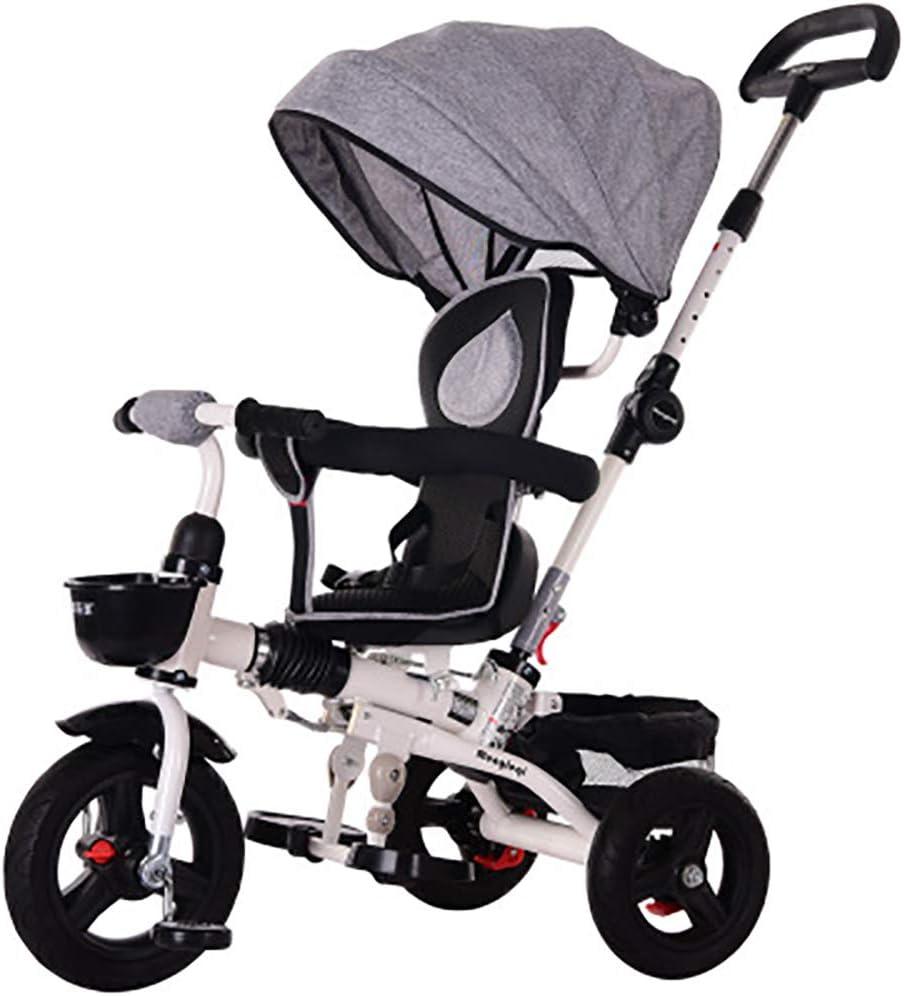 HYLX 4 en 1 Triciclo Infantil Plegable Bebe Evolutivo Trike Bike Bebé Pedal Bicicleta Niños Capota Extraíble Barra Telescópica Control Parental Dirección 6 Meses a 5 Años Máx 30 kg