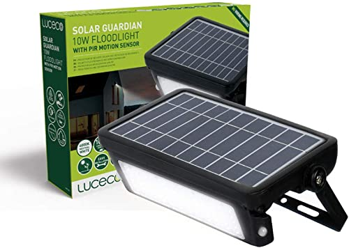 Luceco Solar LED Flood Light Black 10W Motion Sensor, Easy Installation, Outdoor use, No Wires Needed