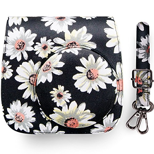 Elvam Canvas Camera Case Bag for Fujifilm Instax Mini 9 , Mini 8 , Mini 8+ Instant Film Camera, Black Flower ()