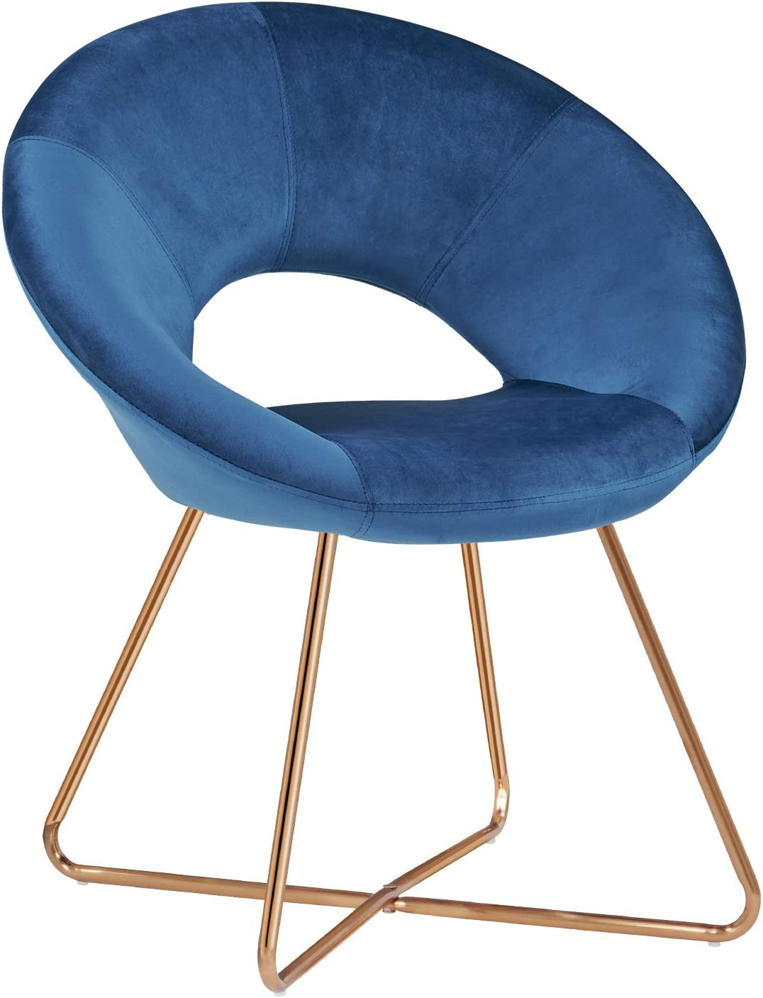 Duhome Modern Accent Velvet Chairs Dining Chairs Single Sofa Comfy Upholstered Arm Chair Living Room Furniture Mid-Century Leisure Lounge Chairs with Golden Metal Frame Legs 1 PCS Blue