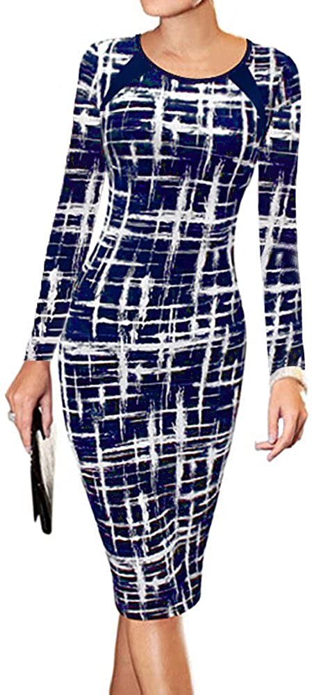 LunaJany Women's Long Sleeve Stripe Print Wear to Work Office Sheath Midi Dress