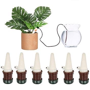 DOCA Dispositivos de riego de plantas, 6 unidades de pinchos de riego automático de cerámica