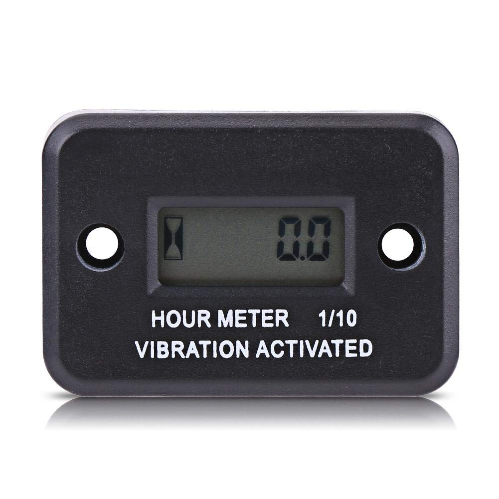 Keenso Black Digital Vibration Hour Meter Gauge for All Vibrating Machine Motorcycle ATV Boat Marine
