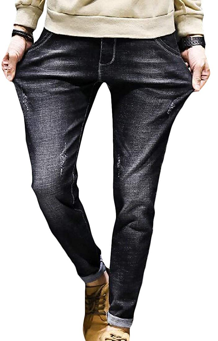 Sweatwater Mens Pocket High Waist Stretch Vintage Washed Pencil Denim Pants