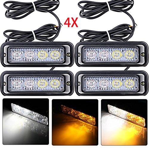 4X Waterproof White/ Amber 4-LED Emergency Beacon Strobe Lamp Flash Light Bar For Honda Mazda Nissan Subaru Toyota