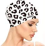Marsolly Silicone Swim Cap for Women, Waterproof Long Hair Swimming Caps