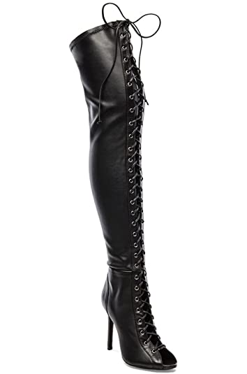 ad412e5bc4a SCHUTZ Pasnnia Black Leather Thigh High Stiletto Lace Up Open Toe Over Knee  Boot (6.5