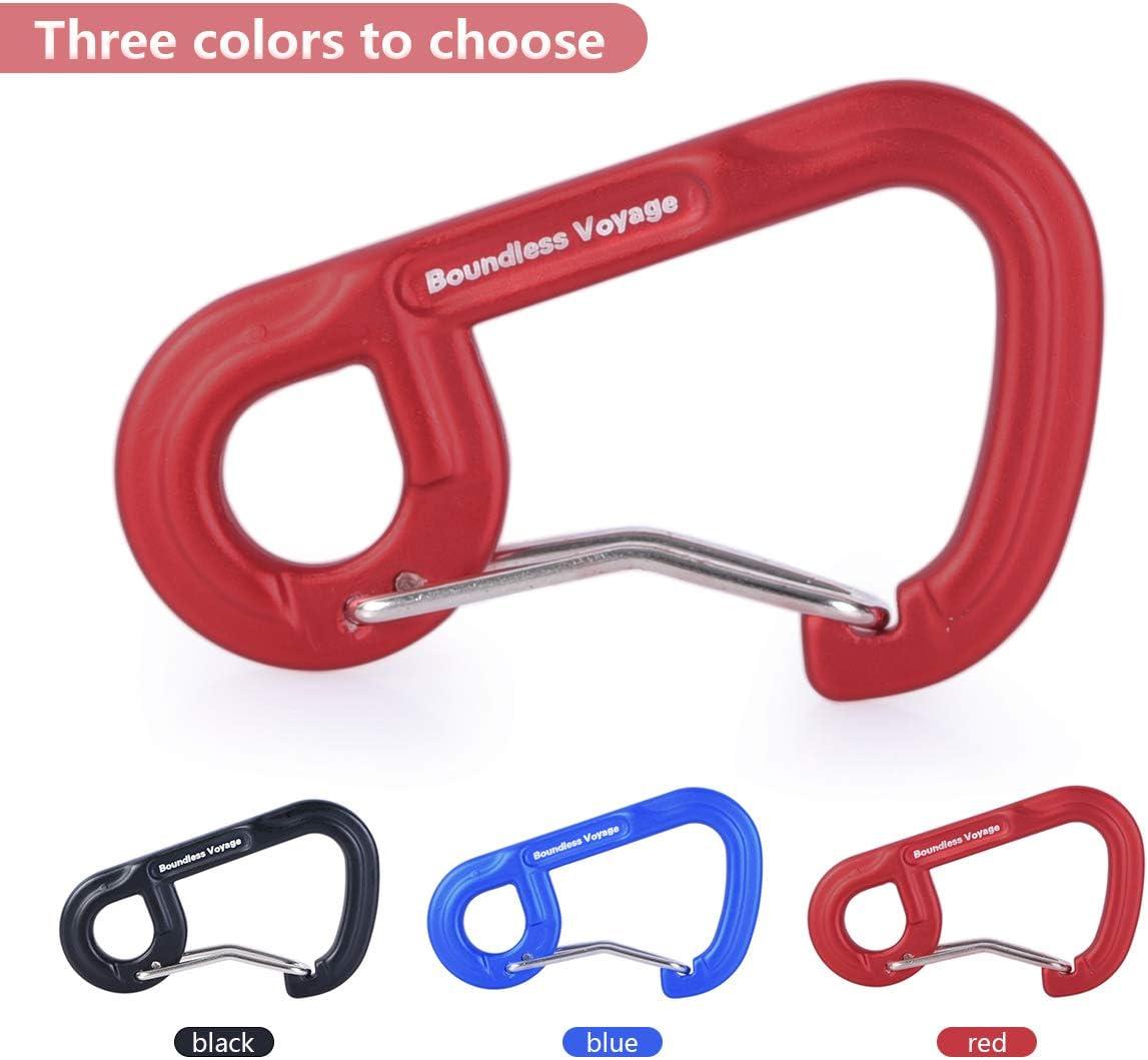 iBasingo 1/6/10 Pack de mosquetón de aleación de Aluminio para Exteriores, Camping, Escalada, sin enganches, Llavero con Clip
