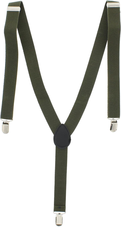 25mm Unisex Womens Mens Braces Plain Black Wide /& Heavy Duty Suspenders