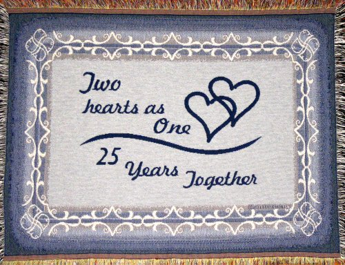 25 Years Together Woven Cotton Sofa Throw Blanket - 25th Anniversary Gift - Made in USA