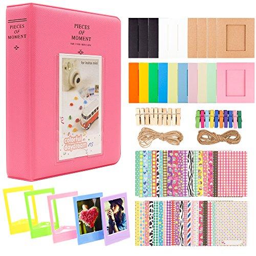 Ablus 2x3 Inch Photo Paper Film Album Set for Fujifilm Instax Mini Camera, Polaroid Snap, Z2300, SocialMatic Instant Cameras & Zip Instant Printer (64 Pockets, Flamingo Pink) from Ablus