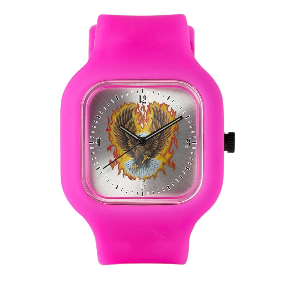 Bright Pink Fashion Sport Watch Eagle with Flames