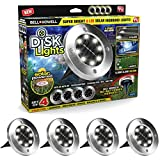 Bell + Howell Disk Lights 8-LED Solar-Powered Auto On/Off Outdoor Lighting As Seen On TV (Set of 4; Deluxe)