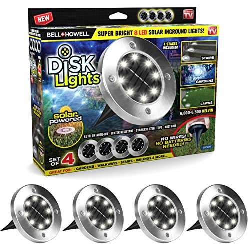 Disk Lights 8-LED Version Solar-Powered Auto On/Off Outdoor Lighting As Seen On TV (Set of 4; Deluxe)
