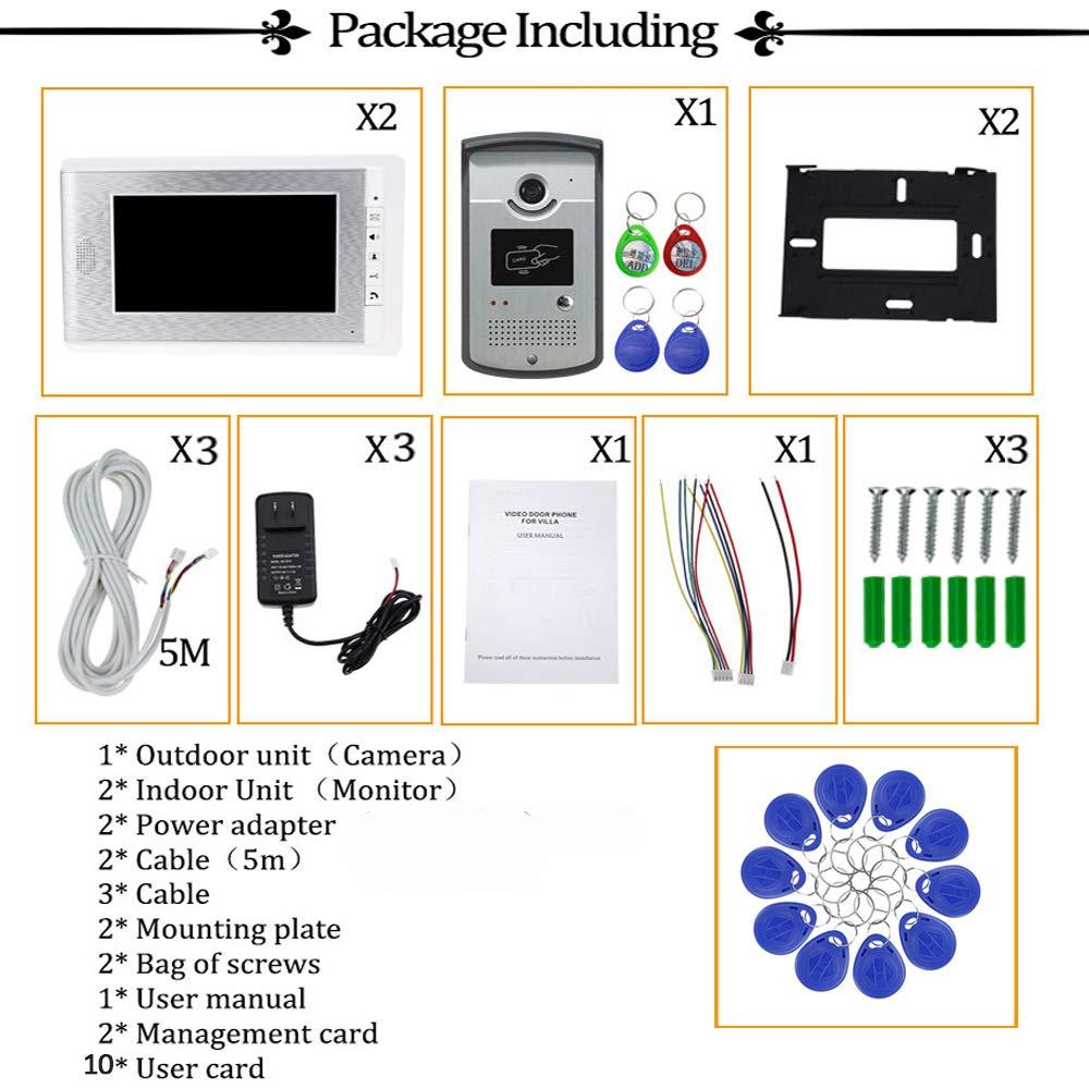 10pcs ID Blue Keyfob uoweky Sistema de Control de Acceso de la C/ámara RFID del Tel/éfono de la Puerta de Intercomunicaci/ón de Video en Casa 1 c/ámara 2 monitor
