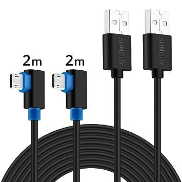 Cable de Cargador Micro USB, SUNGUY [2 Pack] 2M / 6.6ft 90 Grados con Conector Micro de Doble Cara Carga rápida para Cable de Cargador Samsung S7, ...
