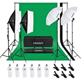 CRAPHY 写真スタジオ照明キット 豪華23件- 5500K傘形ソフトボックス連続照明装置+背景サポートシステム(8.5x10FT バックグラウンドスタンド + 6x9FT ムスリン背景布 黒/白/緑) クリップ、キャリーバッグ付き