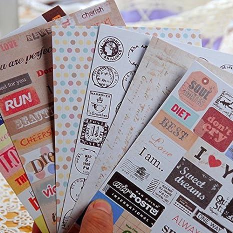 6 hojas Retro papel adhesivo adhesivo cinta de línea de ...