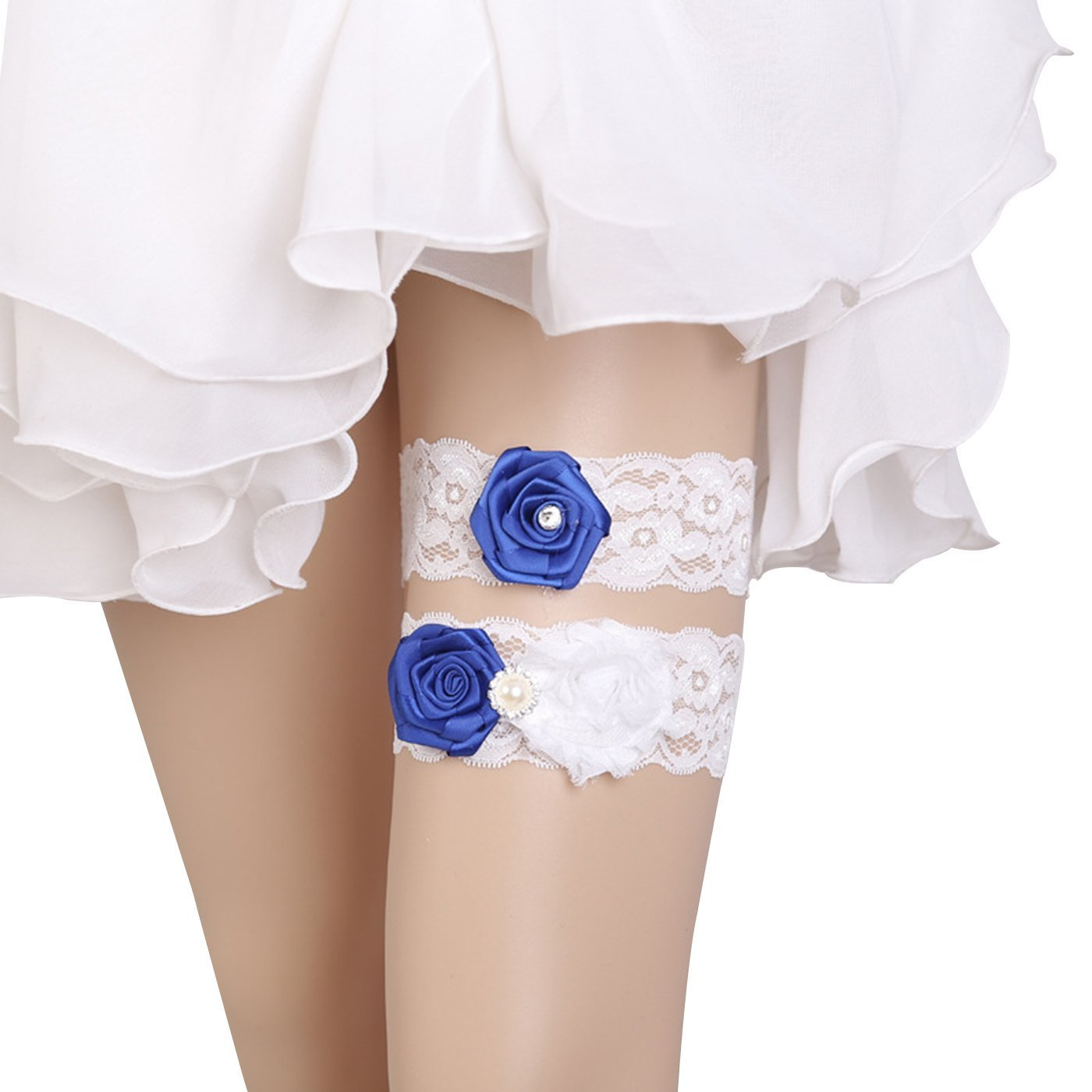 Womens Wedding Floral Lace Bridal Garter Set,Vintage Stretchable Rhinestones Lolita Cosplay Party Garter (A)