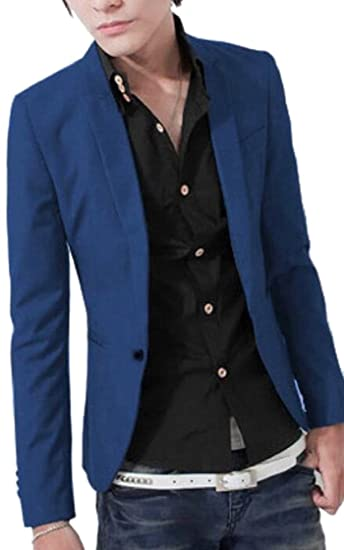 Xqs Mens Formal Suit Jacket One Button Casual Slim Fit Blazer
