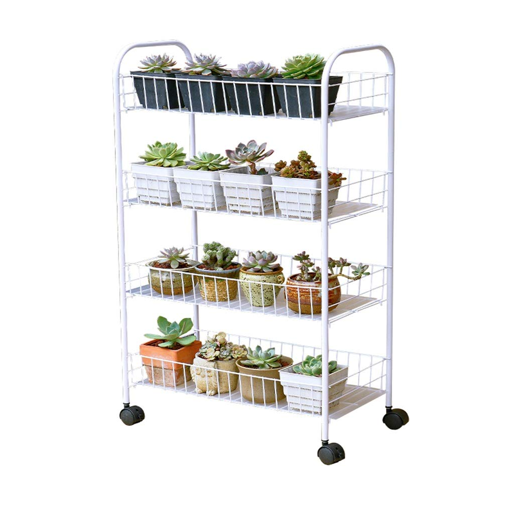 BENCONO Flower Stand Indoor Simple Floor Living Room Multi-Layer Mobile Wrought Iron Flower Shelf by BENCONO