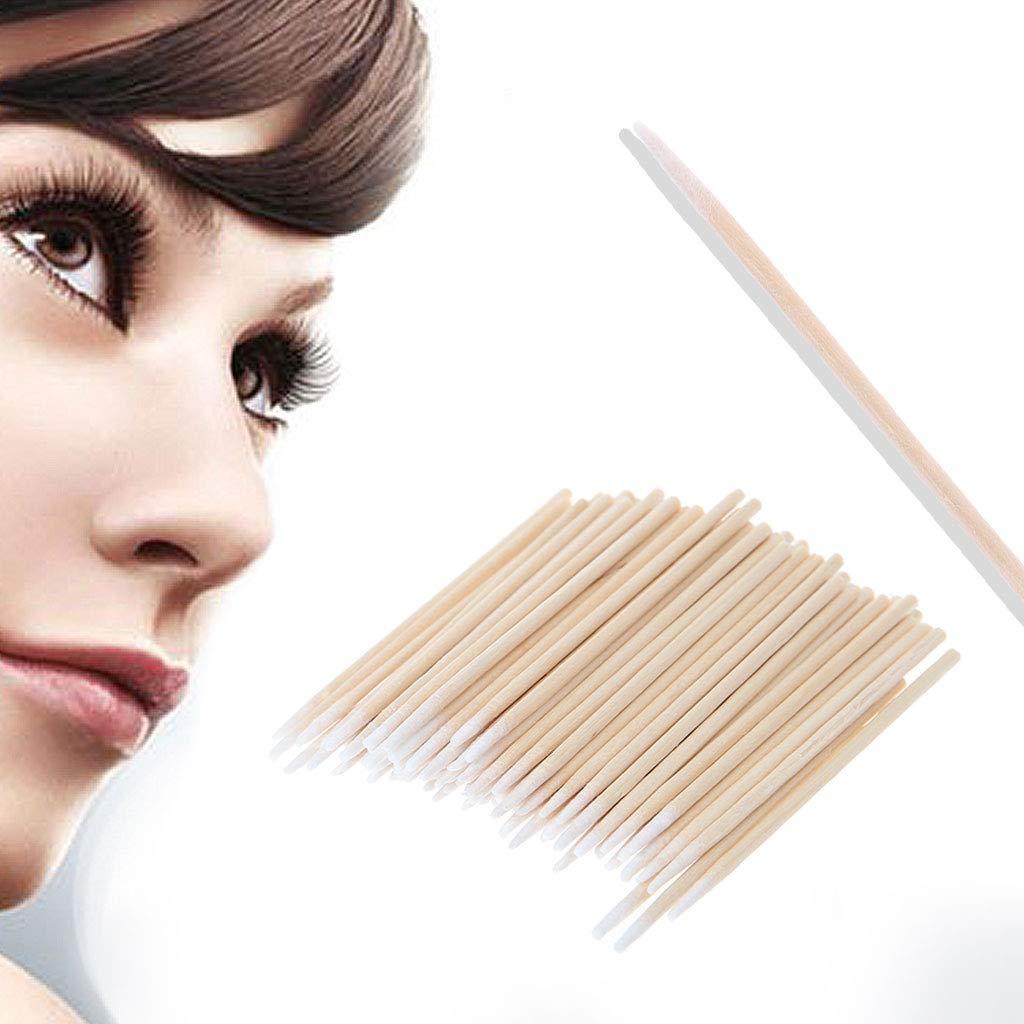 Misright 100pcs Cotton swabs Stick Eyelash Extension Disposable Tattoo Makeup Brushes Q-tip Wood Handle Sturdy