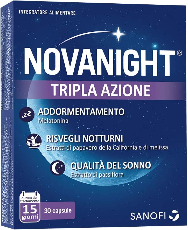 Novanight Tripla Azione Integratore alimentare aiuta a ritrovare il ciclo naturale del sonno con Melatonina, estratti di Papavero della California e Melissa e con estratto di Passiflora - 30 capsule