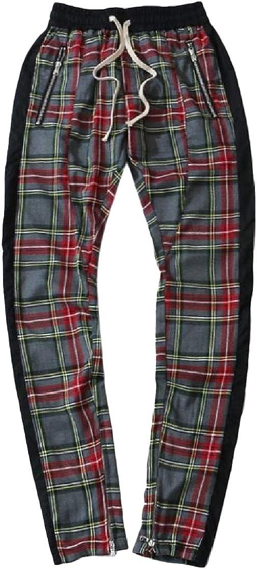 Cromoncent Mens Casual Plaid Zip Hip-Hop Slim Fit Elastic Waist Pants