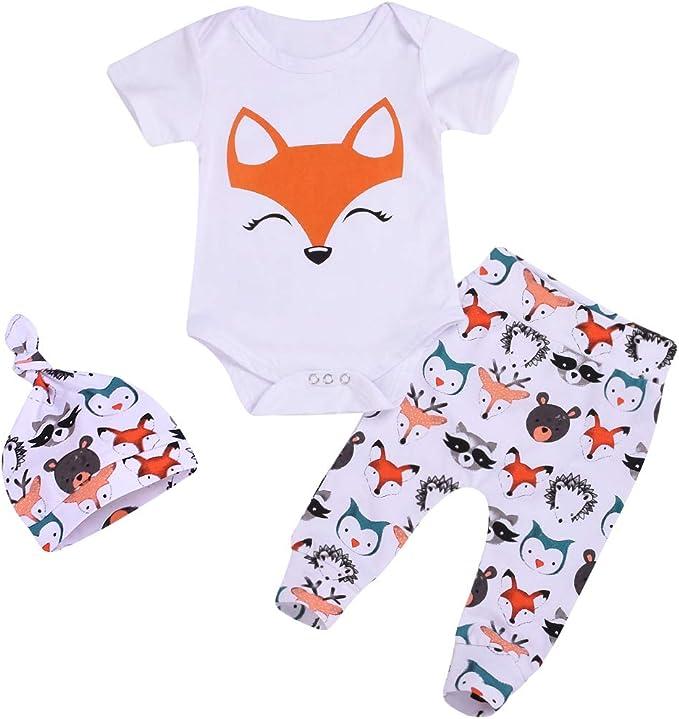 Amazon.com: 3 piezas/conjuntos de ropa de bebé niño niña ...