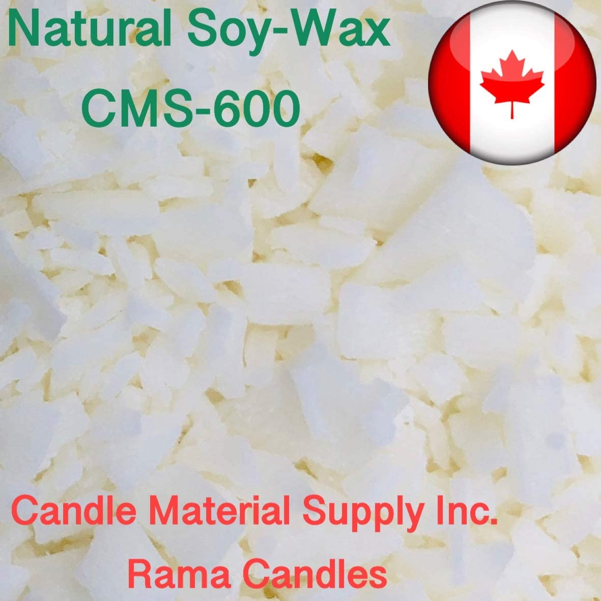 7 LB Natural Soy Wax Flakes CMS-600 Whitener - Excellent for containers- Free Vybar Instruction for Making Candles Included UV stabilizer Each 7gr Included