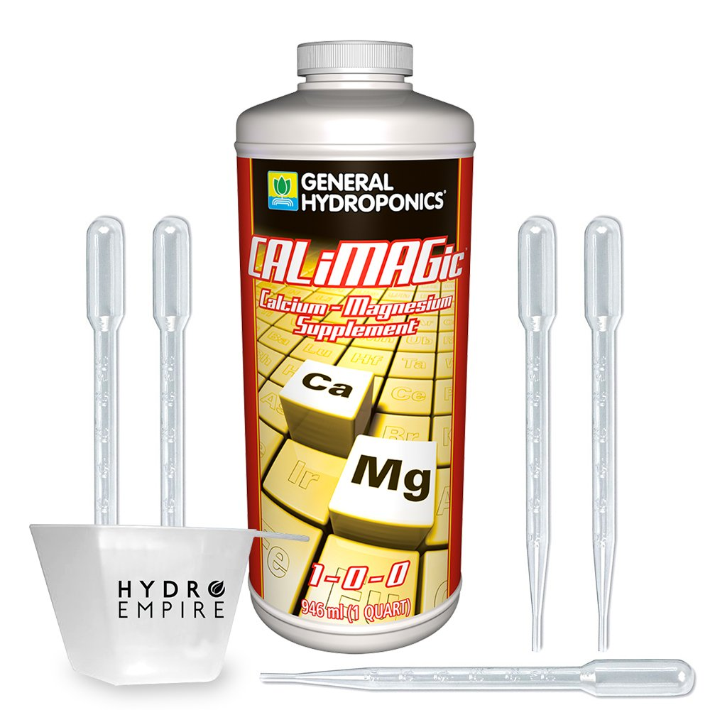 General Hydroponics CALiMAGic Quart - Cal Mag Organic Plant Supplement - Calcium Magnesium Nutrient for Hydroponic, Helps Blossom End Rot with Bonus 5 Pipettes and Hydro Empire 4oz Measuring Cup Kit
